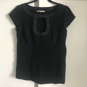 Nanette Lepore black silk keyhole top blouse 4